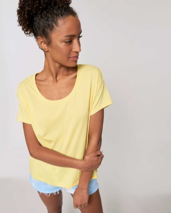 Tee shirt Femme jaune clair Coton Bio coupe Loose emmanchures basses