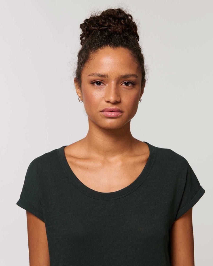 TEE-SHIRT Femme noir manches repliées Coton BIO FWF