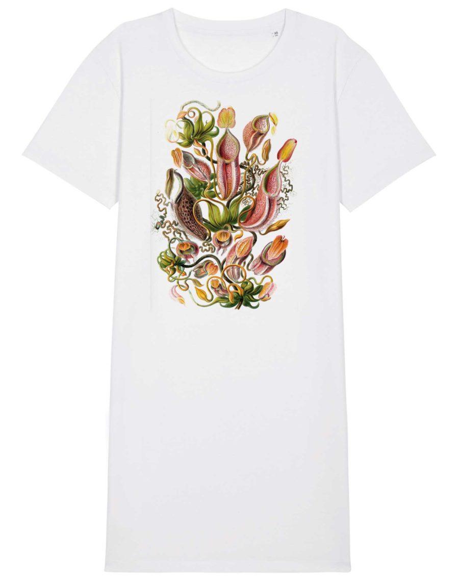 robe teeshirt coton bio blanc impression nepenthes