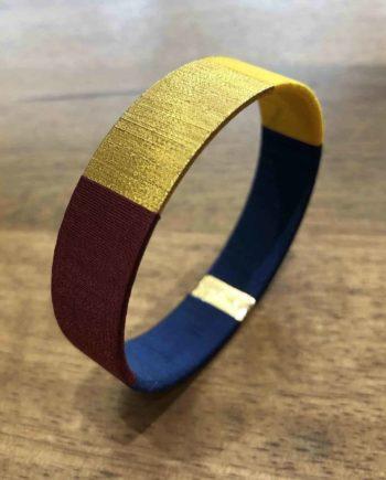 bracelet jonc tissé brune, bleu et or