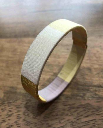 bracelet jonc tissé rose, gris, beige et or