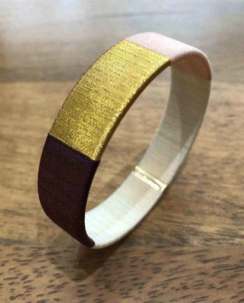 bracelet jonc tissé prune, rose, beige et or