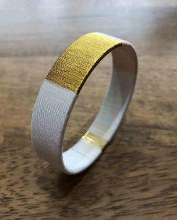 bracelet jonc tissé blanc rose et or