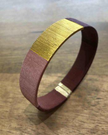 bracelet tissé main marron et doré