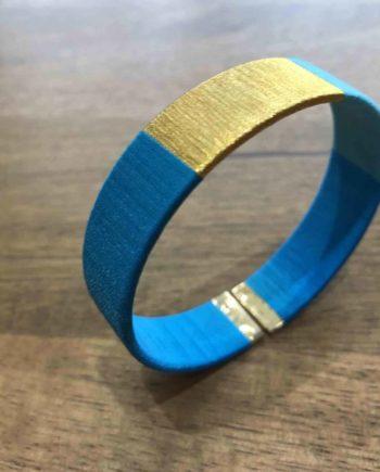 bracelet tissé main bleu et or