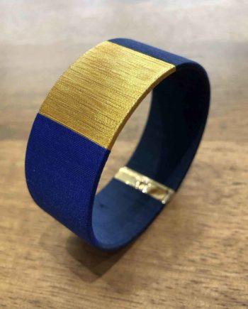 manchette tissée main bleu et or