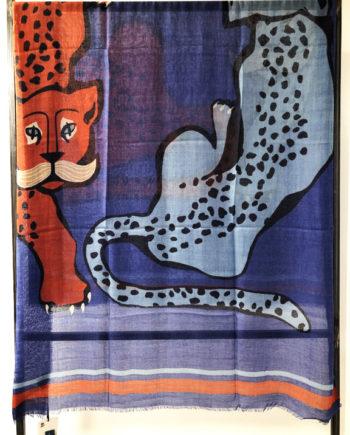 foulard tigre Boulbar bleu