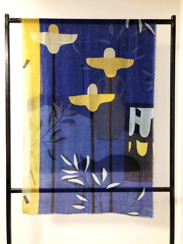 écharpe Boulbar douillet bleu et jaune