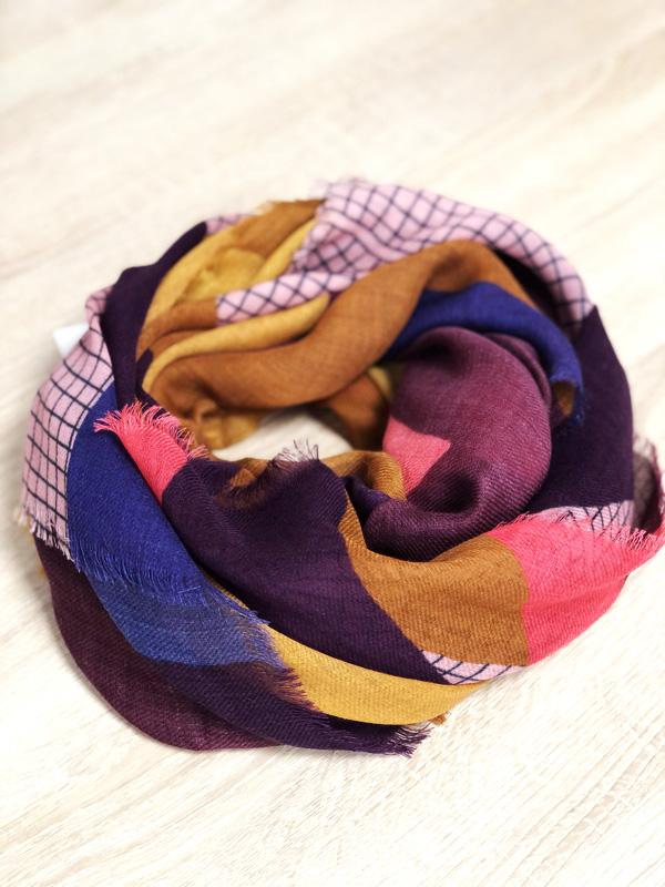 écharpe SC papier prune, rose et safran