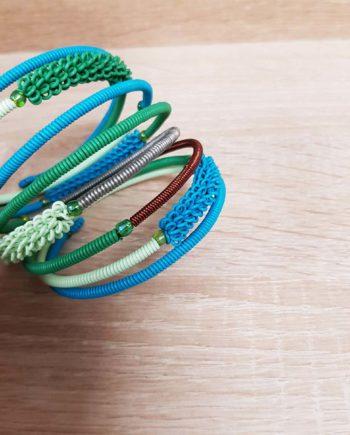 bracelet vert et turquoise fait en fil de téléphone et cuivre artisanat sud africain