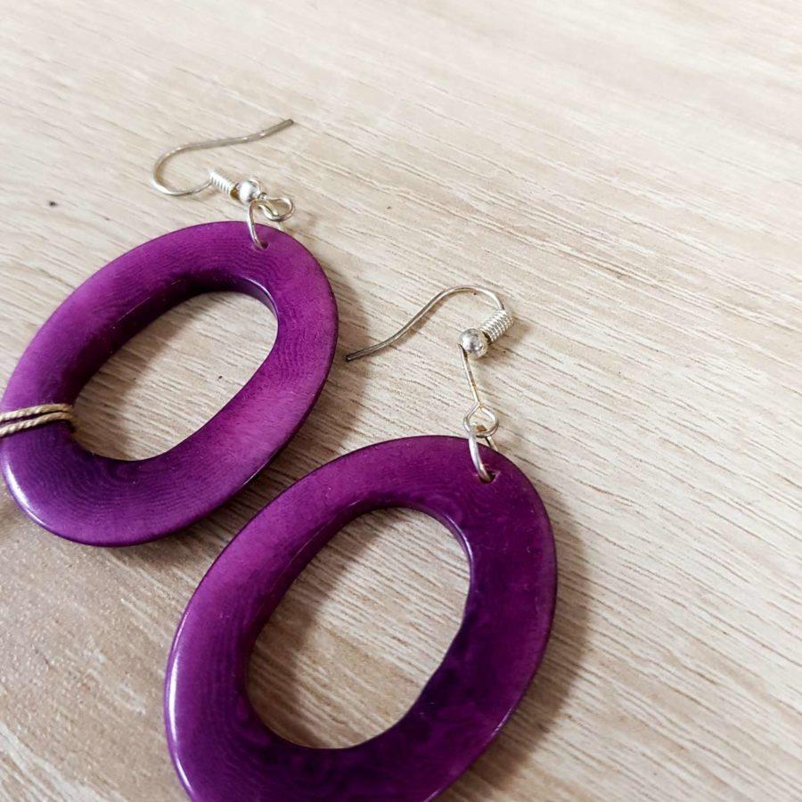 boucles d'oreille violettes en ivoire végétale tagua