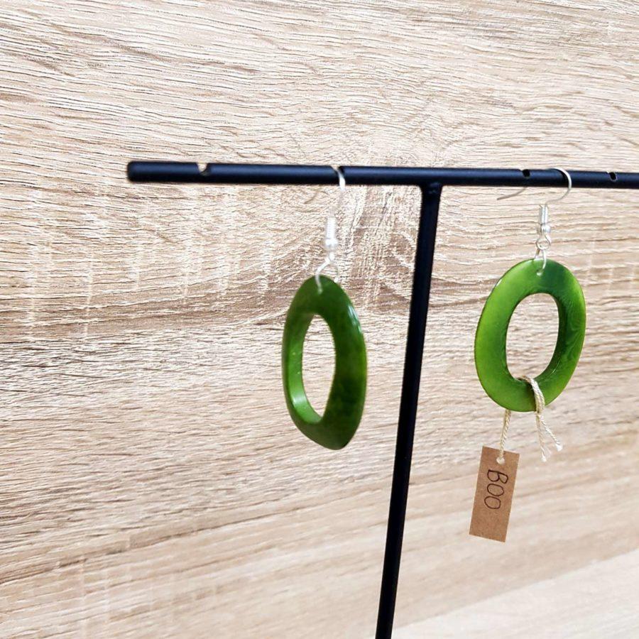 boucles d'oreille vertes en ivoire végétale tagua