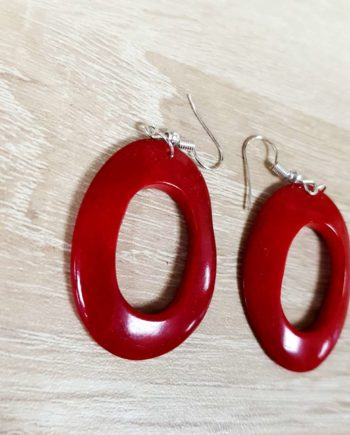 boucles d'oreille rouges en ivoire végétale tagua