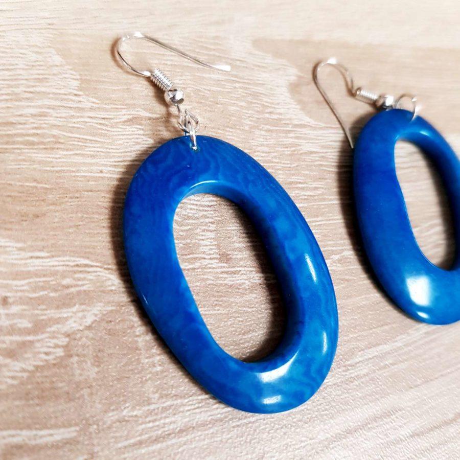boucles d'oreille bleues en ivoire végétale tagua
