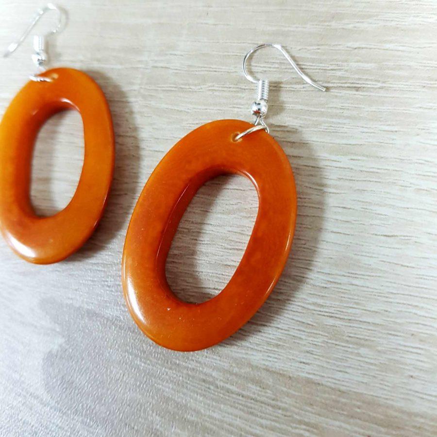 boucles d'oreille orange en ivoire végétale tagua