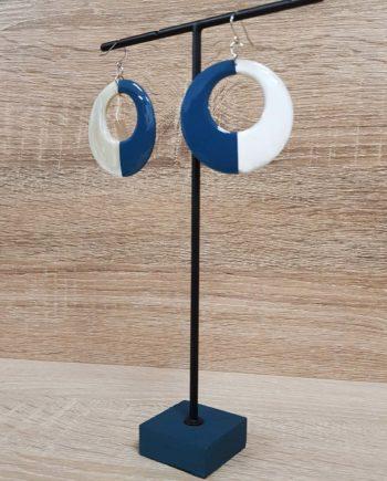 Boucle d'oreille en corne blonde laquée bleu Indochineur artisanat vietnam