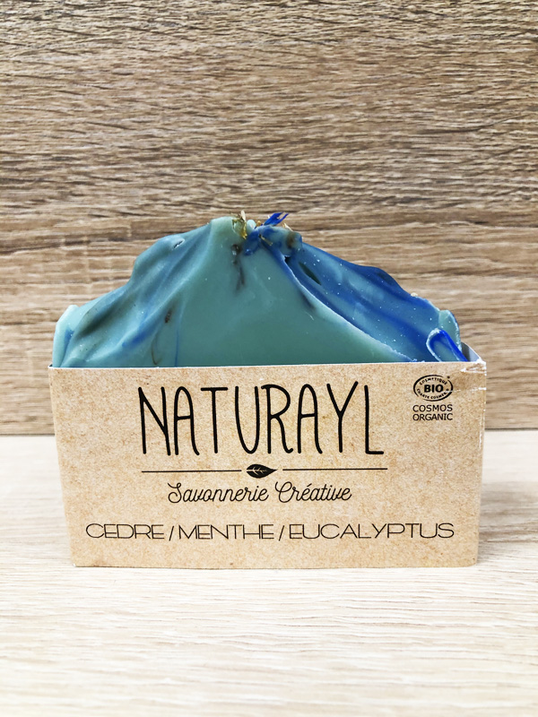 savon bio artisanal à froid cèdre menthe eucalyptus
