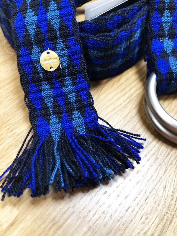 Ceinture tissée à la main artisanat Wayuu bleu, vert et noir