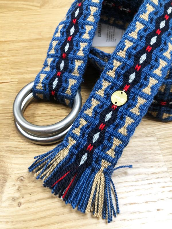 Ceinture tissée à la main artisanat Wayuu bleu et beige