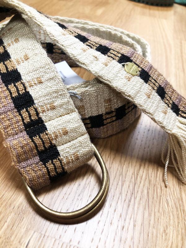 Ceinture tissée à la main artisanat Wayuu beige et marron
