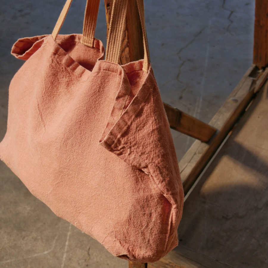 fourre-tout sac tote bag large en lin rose saumon lin français