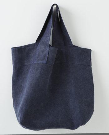 cabas épais en lin bleu foncé lin français