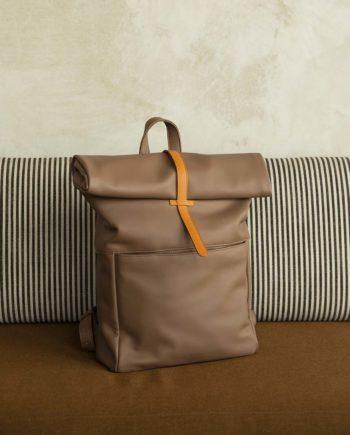 sac à dos beige cacao grande contenance cuir vegan végétal