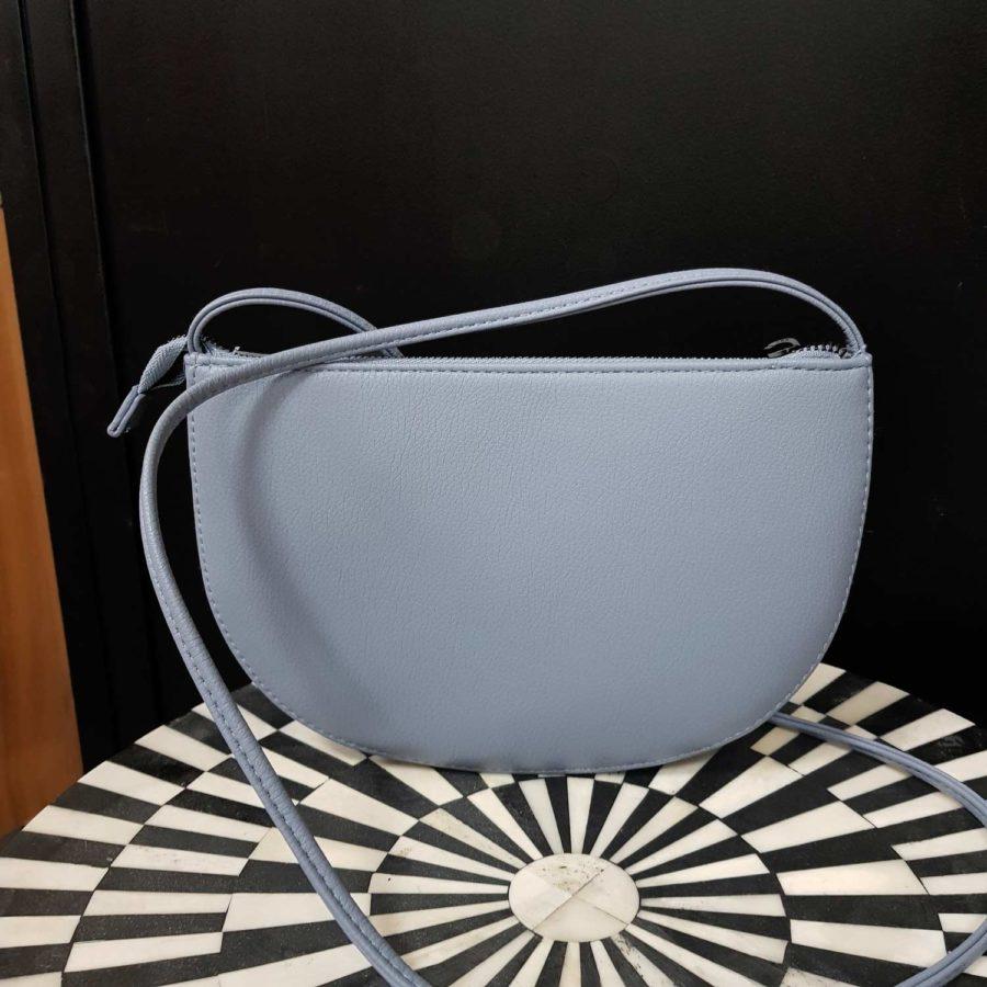 sac cuir vegan vieux bleu à bandoulière