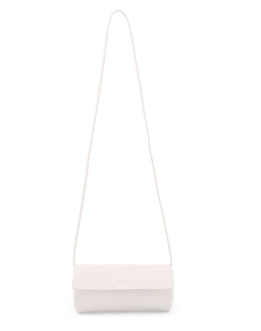 sac tube à bandoulière en simili cuir blanc creme vegan
