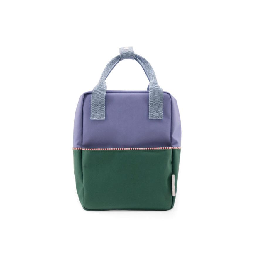 Petit sac à dos enfant bleu et vert en polyester recyclé