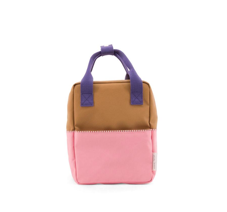 Petit sac à dos enfant rose marron et violet en polyester recyclé