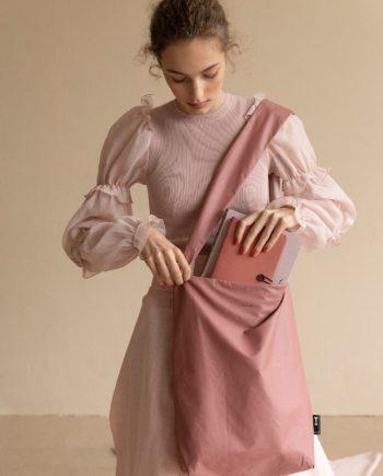 besace vieux rose polyester recyclé pochette assortie