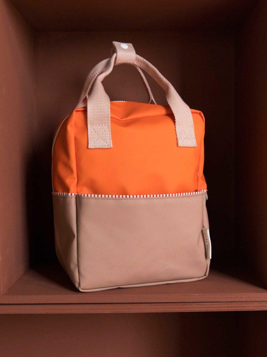 Petit sac à dos enfant orange et saumon en polyester recyclé