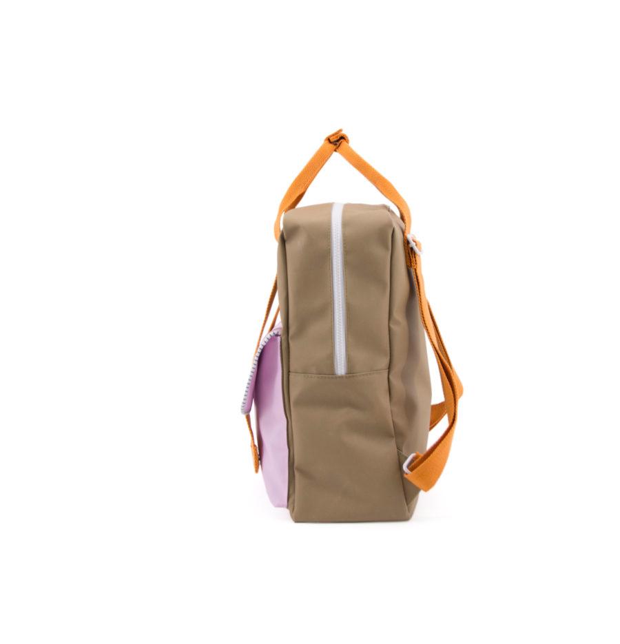 grand sac à dos marron et rose en polyester recyclé bouteille plastique recyclé