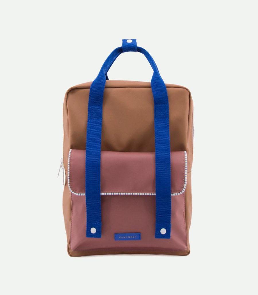 grand sac à dos marron et bleu en polyester recyclé bouteille plastique recyclé