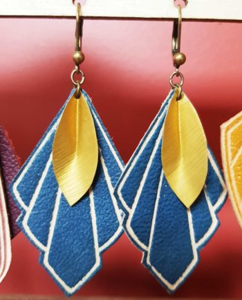 boucles d'oreille bleu upcyclées atelier oplatka