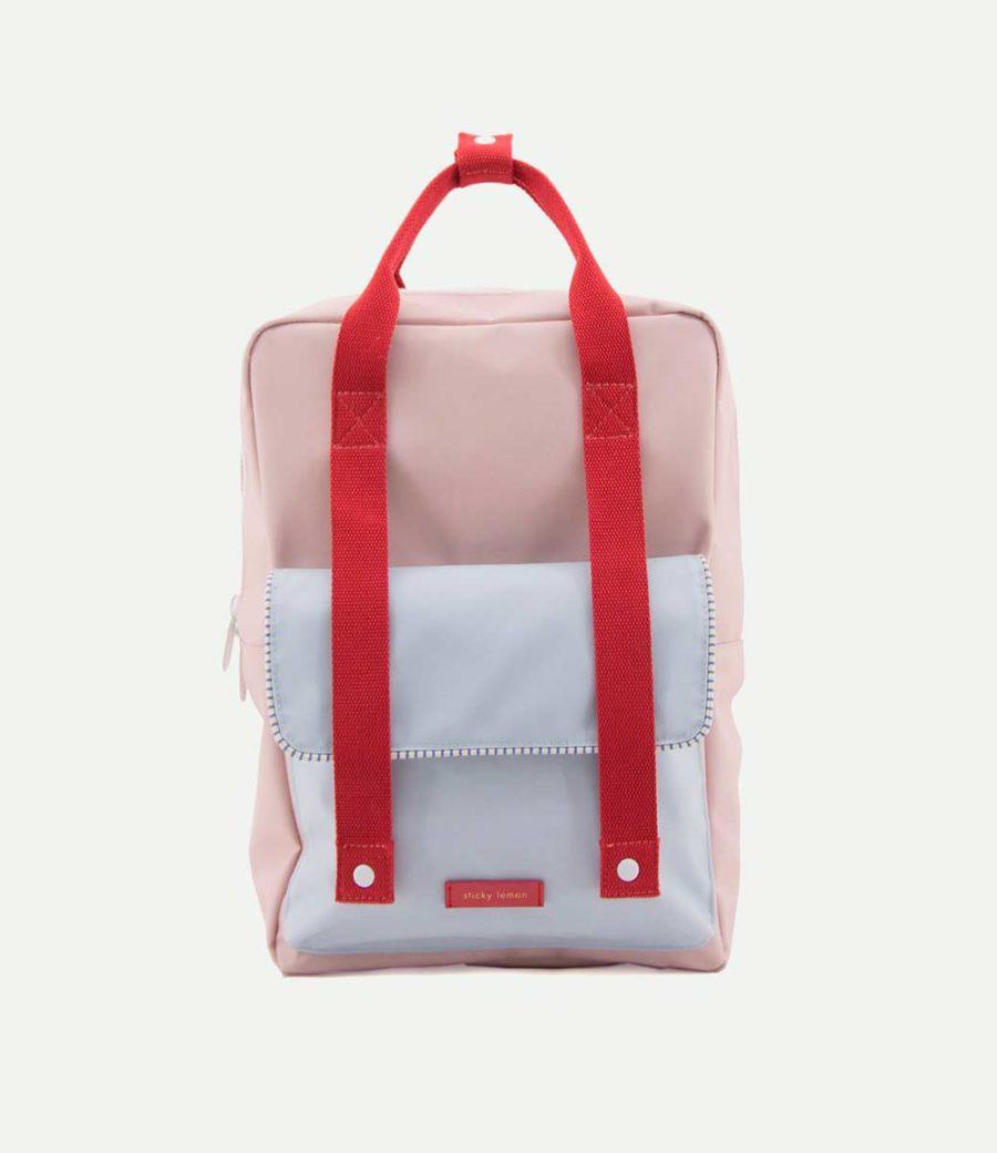 grand sac à dos rose en polyester recyclé bouteille plastique recyclé