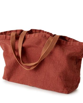fourre-tout sac tote bag large en lin rouge brique lin français