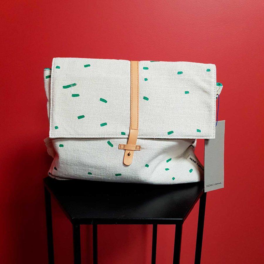 Sac à dos enfant en coton bio blanc et vert