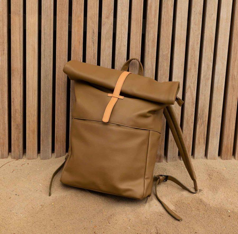 sac à dos cuir vegan vert olive
