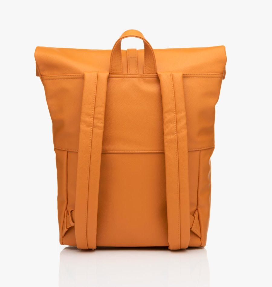sac à dos cuir vegan jaune moutarde grande contenance