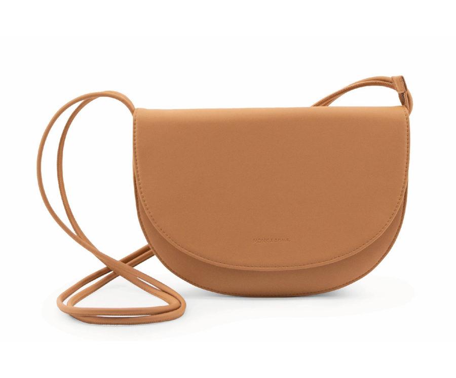Grand sac à bandoulière vegan couleur acajou