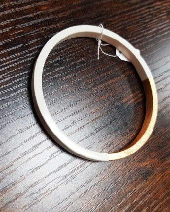 bracelet rond bois laqué feuille or blanc