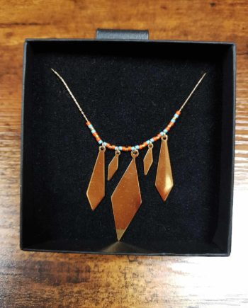 collier kim chi bleu ciel et orange