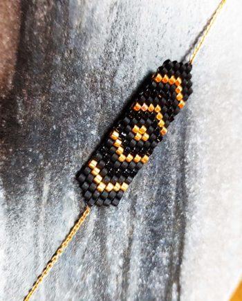 bracelet style tissage kim chi perles noires