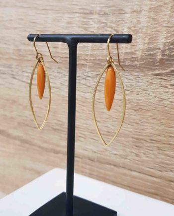 boucles d'oreille laiton email orange
