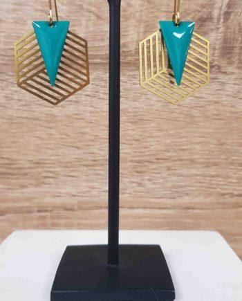 Boucles d'oreilles laiton email vert bleu