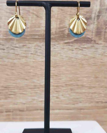 Boucles d'oreilles laiton email bleu granite
