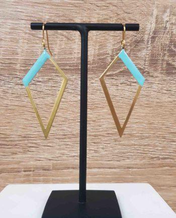 Boucles d'oreilles laiton email bleu clair