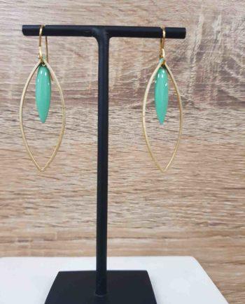 Boucles d'oreilles laiton email bleu vert long